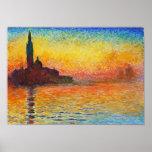 Claude Monet Sunset In Venice Impressionist Art Poster