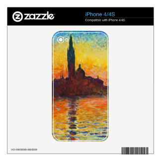 Claude Monet Sunset In Venice Impressionist Art Skins For iPhone 4S