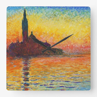 Claude Monet Sunset In Venice Impressionist Art Square Wall Clock