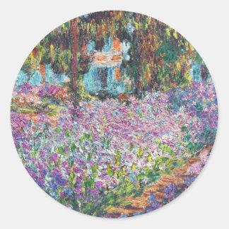 Claude Monet - The Artist's Garden at Givern Classic Round Sticker
