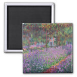 Claude Monet   The Artist's Garden at Giverny 2 Inch Square Magnet