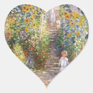 Claude Monet The Artist's Garden at Vétheuil, 1880 Heart Sticker