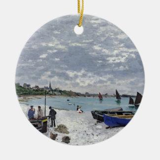 Claude Monet | The Beach at Sainte-Adresse Ceramic Ornament