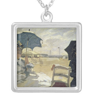 Claude Monet   The Beach at Trouville, 1870 Silver Plated Necklace