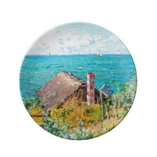 Claude Monet The Cabin At Saint-Adresse Fine Art Porcelain Plate