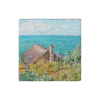 Claude Monet The Cabin At Saint-Adresse Fine Art Stone Magnet