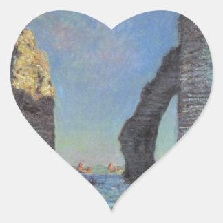 Claude Monet The Cliffs at Etretat Destiny Gifts Heart Stickers