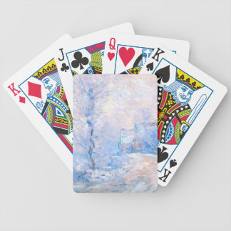 Claude Monet: The Entrance to Giverny under Snow Bicycle Playing Cards