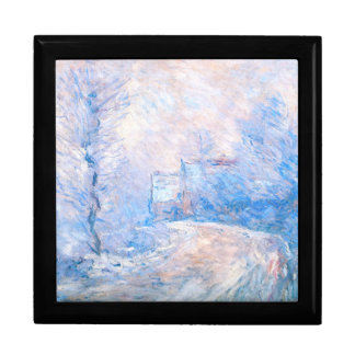 Claude Monet: The Entrance to Giverny under Snow Jewelry Box