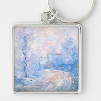Claude Monet: The Entrance to Giverny under Snow Keychains