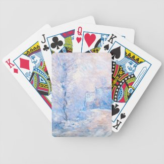 Claude Monet: The Entrance to Giverny under Snow Bicycle Card Decks