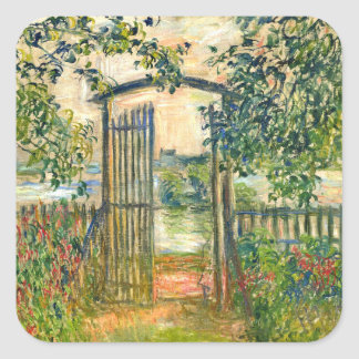 Claude Monet: The Garden Gate at Vetheuil Square Stickers