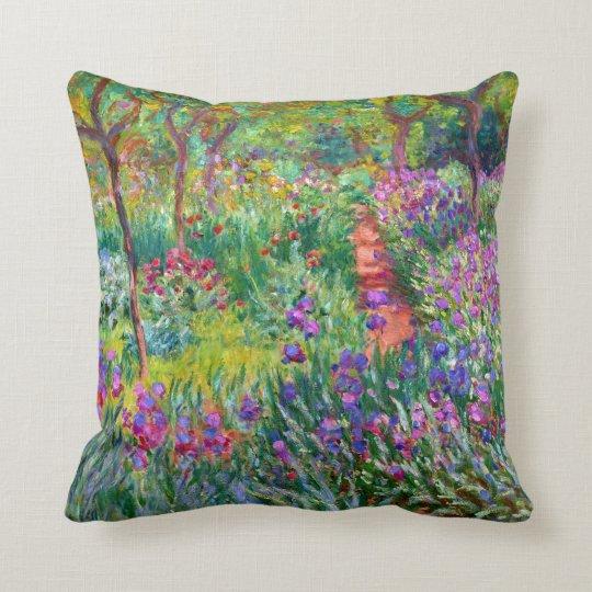 Claude Monet: The Iris Garden at Giverny Throw Pillow