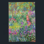 """Claude Monet: The Iris Garden at Giverny Towel<br><div class=""""desc"""">A colorful classic kitchen towel featuring the iris garden at Giverny,  painted by the French impressionist painter Claude Monet.</div>"""