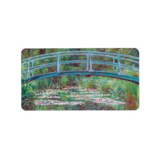 Claude Monet The Japanese Footbridge Address Label