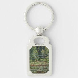 Claude Monet - The Japanese Footbridge Silver-Colored Rectangular Metal Keychain