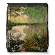 Claude Monet: The Pond at Montgeron Drawstring Backpack