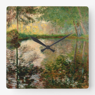 Claude Monet: The Pond at Montgeron Square Wall Clock