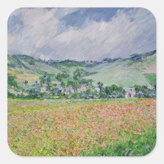 Claude Monet | The Poppy Field near Giverny, 1885 Square Sticker