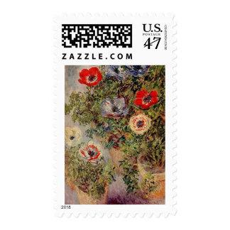 Claude Monet - todavía vida con Anemonies Sello Postal