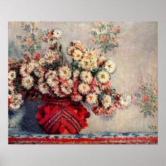Claude Monet - todavía vida con los crisantemos Posters