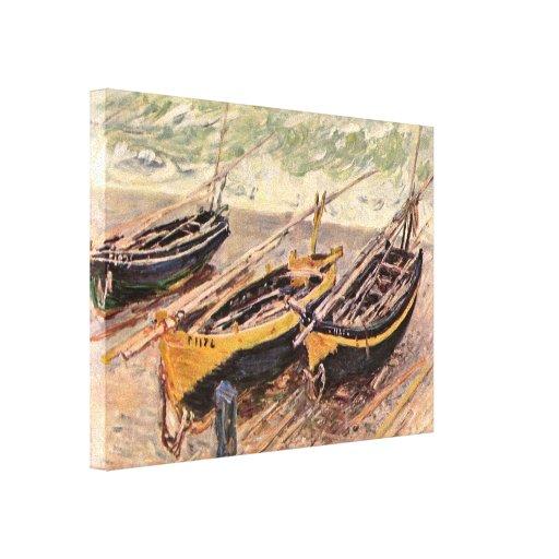 Claude Monet - tres barcos de pesca Lienzo Envuelto Para Galerías