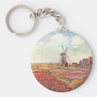 Claude Monet Tulips in Holland Basic Round Button Keychain