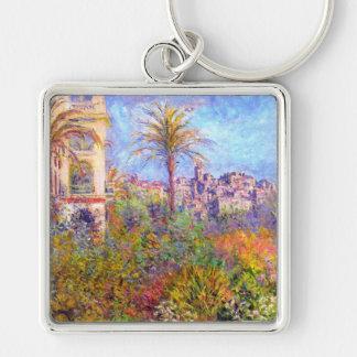 Claude Monet: Villas at Bordighera Silver-Colored Square Keychain
