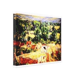 Claude Monet - Vue du village de Giverny Impresión En Lienzo Estirada