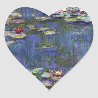 Claude Monet Water Lilies Heart Sticker