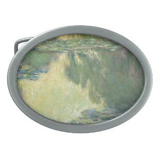 Claude Monet Water Lilies Impressionist Painting Oval Belt Buckle