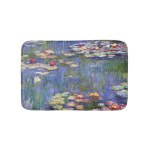 Monet,Circa 1880 Microfiber Bath Mat Water Lilies Vintage Painting