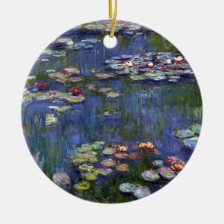 Claude Monet Water Lilies Double-Sided Ceramic Round Christmas Ornament