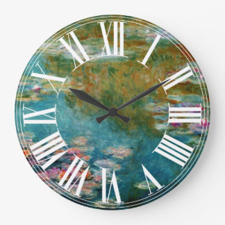 Claude Monet water lily at giverny Large Clock