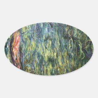 Claude Monet Weeping Willow Oval Sticker