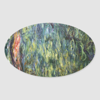 Claude Monet Weeping Willow Oval Stickers