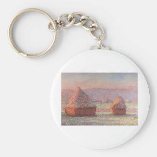 Claude Monet - White Frost Sunrise Basic Round Button Keychain