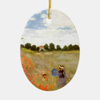 Claude Monet // Wild Poppies Double-Sided Oval Ceramic Christmas Ornament