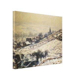Claude Monet - Winter At Giverny 1885 Stretched Canvas Print