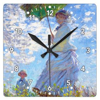 Claude Monet - Woman Holding a Parasol Square Wall Clock