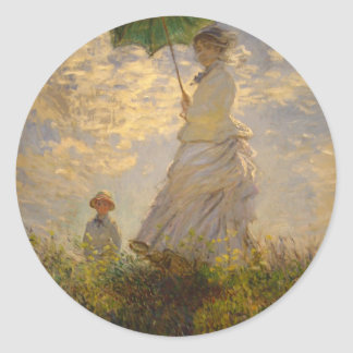Claude Monet: Woman with a Parasol, 1875 Classic Round Sticker