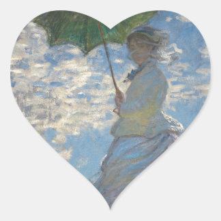 Claude Monet Woman with a Parasol 1875 Heart Sticker