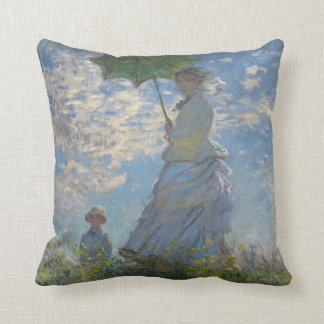Claude Monet Woman with a Parasol by GalleryHD Throw Pillow