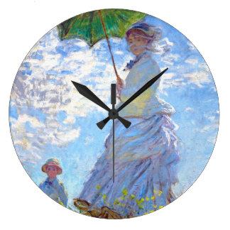 Claude Monet - Woman with a Parasol Large Clock
