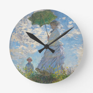Claude Monet | Woman with a Parasol Round Clock