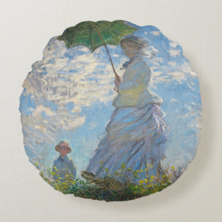 Claude Monet | Woman with a Parasol Round Pillow
