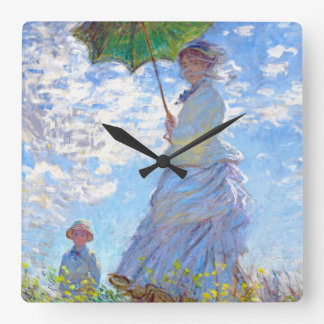 Claude Monet - Woman with a Parasol Square Wall Clock