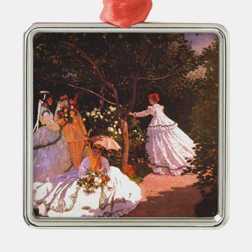 Claude Monet // Women in the Garden Silver-Colored Square Ornament