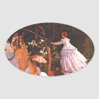 Claude Monet // Women in the Garden Oval Sticker