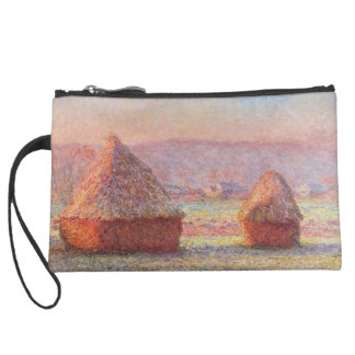 Claude Monet's Haystacks, White Frost, Sunrise Suede Wristlet Wallet